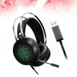 1 Pc Gaming Headset RGB Light with Mic Wired Headphone Earph