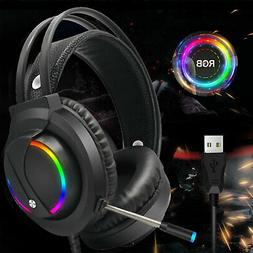 Gaming Headset RGB Surround Sound Mic 7.1 USB Headphones W/C