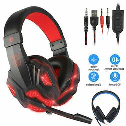 3.5mm Gaming Headset LED Headphones Stereo Bass Surround For