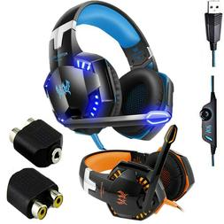 3.5mm Gaming Headset MIC LED Headphones Stereo for PC PS4 Sl