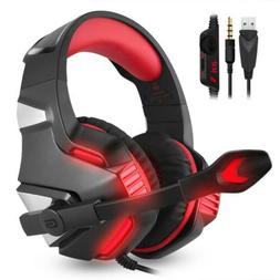 3.5mm Gaming Headset MIC Red LED Stereo Surround for PC PS4