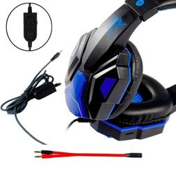 3.5mm Gaming Headset Mic LED Headphones For PC MAC PS4 Xbox