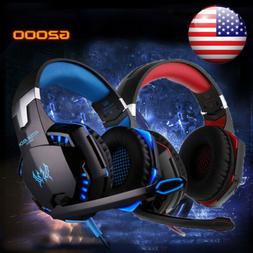 3.5mm Gaming Headset MIC LED Wired Headphone Surround for PC