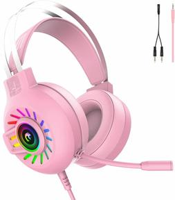 3.5mm Gaming Headset With Mic Headphone For PC Laptop Mac Ni