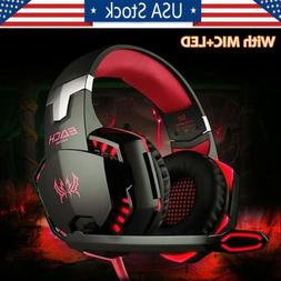 3.5mm Gaming Headset with Mic LED Headphones Surround For PC