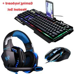 3.5mm PC Gaming Headset Gaming Keyboard Stereo Headphones &