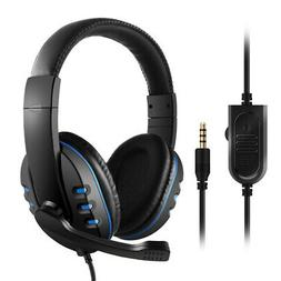 3.5mm Wired Gaming Headphones Over Ear Headset Noise Canceli