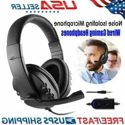 3.5mm Wired Gaming Headset Mic Stereo Surround Headphone For