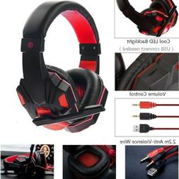 3.5mm Wired Gaming Headset Over Ear Stereo Headphones w/ Mic