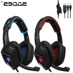 SADES 3.5mm Wired Pro Gaming Headset Headphone MIC LED For P