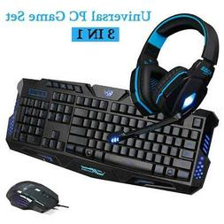 3 In 1 Gaming Headset 3 Color Keyboard & Mouse & 3.5mm Game
