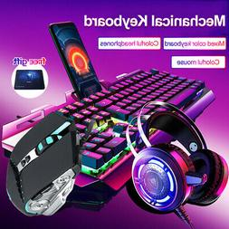 3-In-1 Keyboard Mouse Headset Mechanical Gaming Keyboard Set