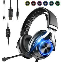 3.5mm Wired Gaming Headphones Over Ear Headset w/Mic Volume