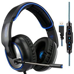 7.1 Surround Sound Gaming Headsets, SADES R7 USB PC MAC Over