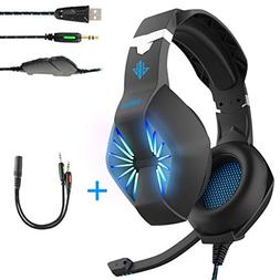 Gaming Headset-3.5MM Jack & USB Wired Over Ear Headphone wit