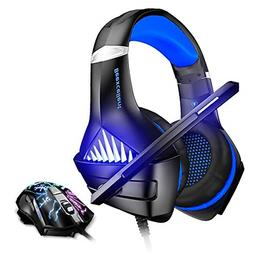 Blue Gaming Headset and Mouse, Stereo Gaming Headset, Blue