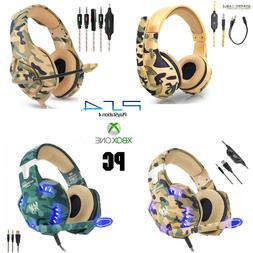 Camo Gaming Headset PS4 Xbox One PC Headphone 3.5mm Stereo S