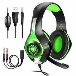 Gaming Green Headset for Playstation 4 PS4 Over-Ear Headphon