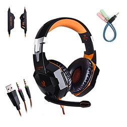 Gaming Headphone for PC with Mic Over-ear One Key Mute Heads