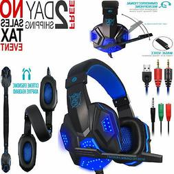 Gaming Headphones Bluetooth USB 3.5mm AUX PC Laptop PS4 XBox