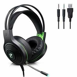 Gaming Headset, 3.5mm Wired Bass Stereo Gaming Headphones wi