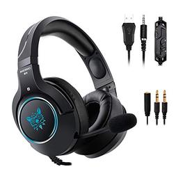 Gaming Headset with Mic and RGB LED Light for PS4, Xbox One,