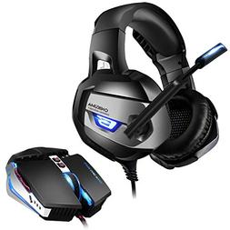 ONIKUMA Gaming Headset and Mouse Combo, Gaming Headphones fo