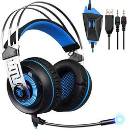 Gaming Headset Compatible Xbox One, SADES PS4 Headset with M