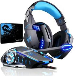 Gaming Headset Deep Bass Stereo Microphone LED Light Headpho