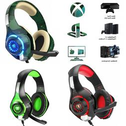 GAMING HEADSET For PC PS4 Xbox One LED Lights Noise Cancelin