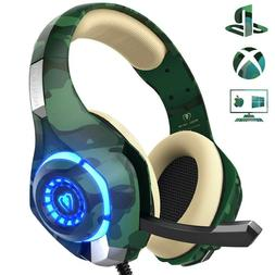 Beexcellent Gaming Headset for PS4 Xbox One PC, Mic and LED
