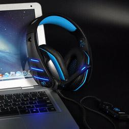 Gaming Headset Mic LED for PS4 Xbox ONE Stereo PC Headphones