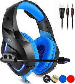 Gaming Headset Mic LED Headphones Surround for PC Mac. PS4 X