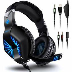 Gaming Headset Over Ear Computer Headphones with Mic, LED Li
