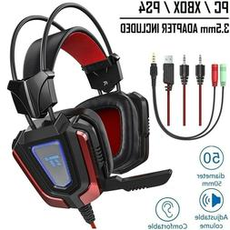 Gaming Headset PC PS4 Xbox One Headphones 50mm with Mic LED