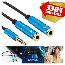 Gaming Headset Splitter Y Adapter 3.5mm Jack Cable Separate