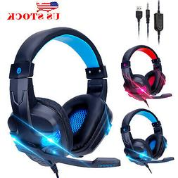 3.5mm Gaming Headset Stereo Surround Headphone Wired Mic For