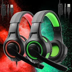 Gaming Headset Stereo Surround Headphone 3.5mm Wired Mic For