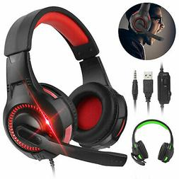 Gaming Headset W/Mic Stereo Sound Glaring LED lights For PS4