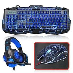 Gaming Keyboard and Mouse Combo with Headset, MFTEK Backlit