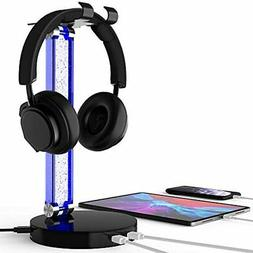 Headphone Stand, RGB LED PS4 Gaming Headset With USB Charger