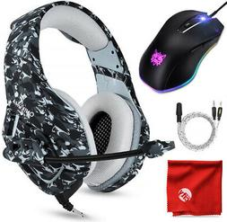 ONIKUMA K1 Camo Gaming Headset and 8000DPI Mouse for PC, Mac