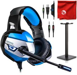 ONIKUMA K5 Blue LED Gaming Headset + Stand for Xbox One, PS4