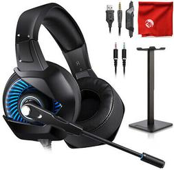 ONIKUMA K6 Blue LED Gaming Headset + Stand for Xbox One, PS4