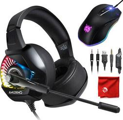 ONIKUMA K6 RGB LED Gaming Headset + Stand for Xbox One, PS4,
