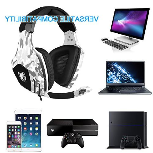 2018 Sades Gaming Xbox Nintendo Stereo Headphones with Noise Cancelling Mic