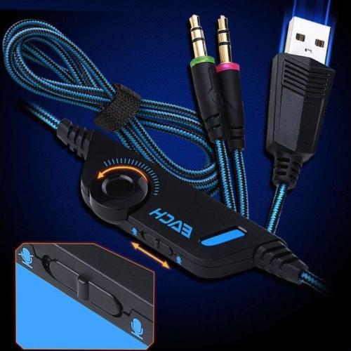 3.5mm Gaming LED Headphones Stereo for PS3 X 360 E