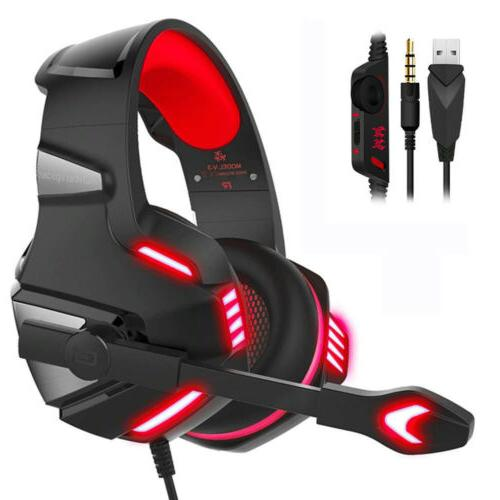 3.5mm Gaming Headset Mic LED Headphones Surround For PC Lapt