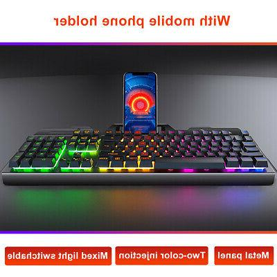 4In1 Mouse Headset Mechanical Gaming Keyboard USB Cable Desktop
