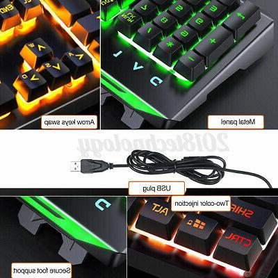 4In1 Mechanical Gaming Keyboard USB Cable Desktop